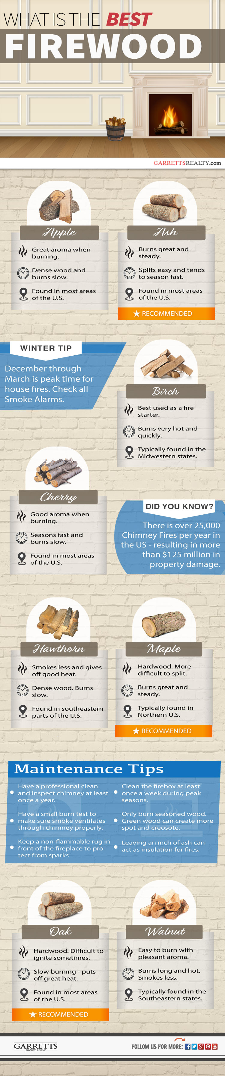 best types of firewood - Infographic.