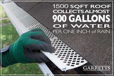 Amount of water collected by gutters during rainfall.