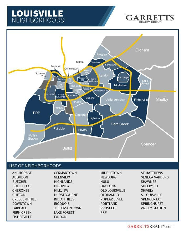 Louisville Neighborhoods map