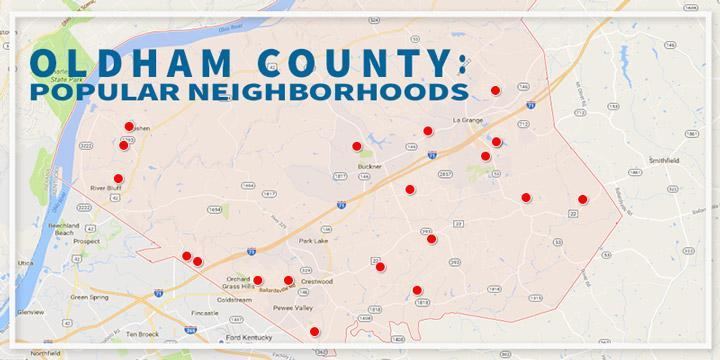 Map view of the best neighborhoods in Oldham County KY